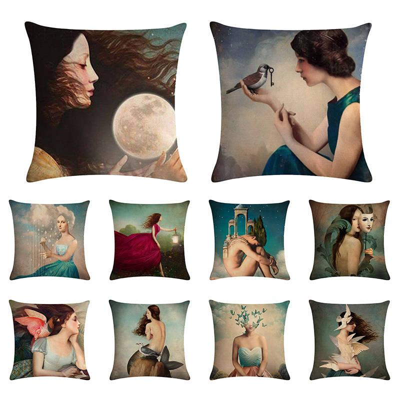 18*18'' Oil Painting Pillowcases Famous Woman Cushion Cover Home Textiles Decorative Throw Pillows Dancing pillow 1473