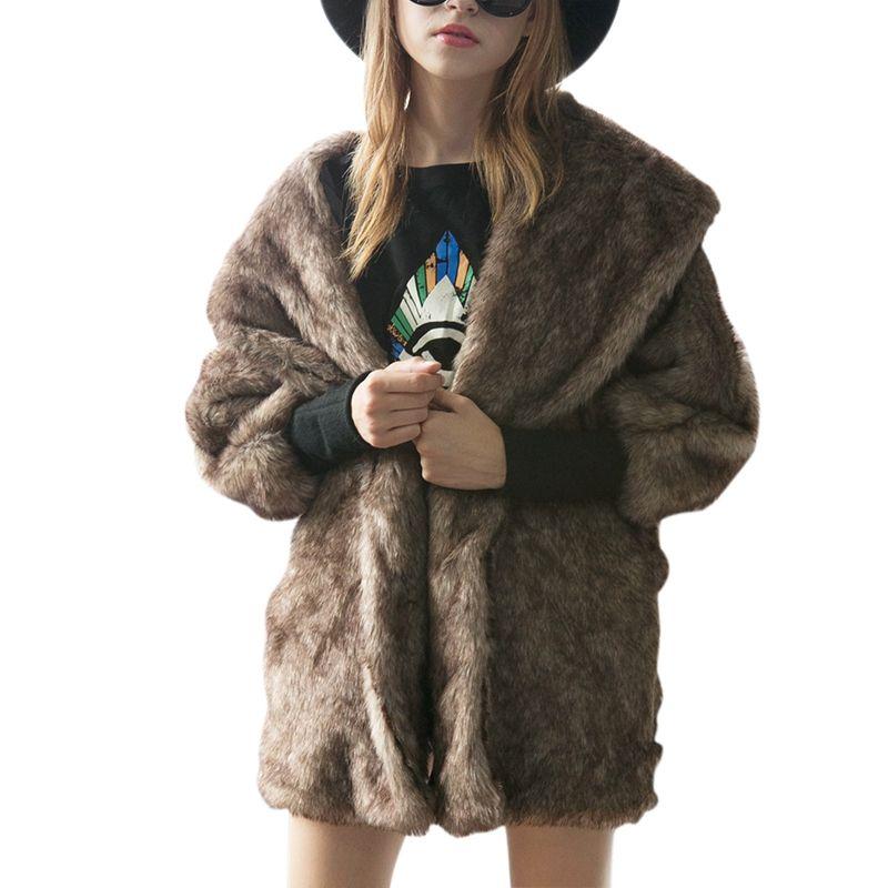 Aqueça casaco de pele grosso Outono-Inverno Womens Feminino Jacket Casacos Batwings Overcoat Plus Size XXXL preto elegante Brown T1782
