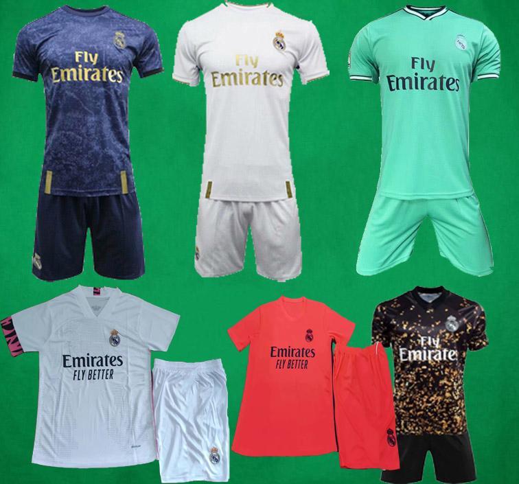 19 camisas de futebol 20 21 Real Madrid curta Casa Fora kit Terceiro futebol camisa de futebol PERIGO DE ZIDANE BENZEMA conjuntos Camiseta De Futbol Homens crianças