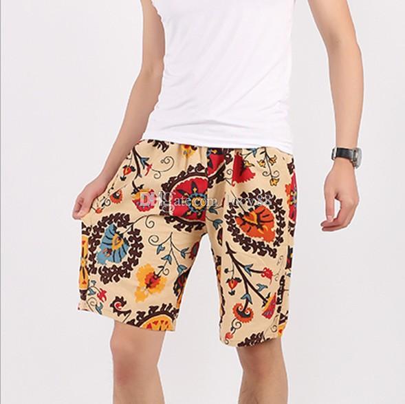 Mens Vintage Print Beach Summer Large Size Loose Shorts Swim Shorts