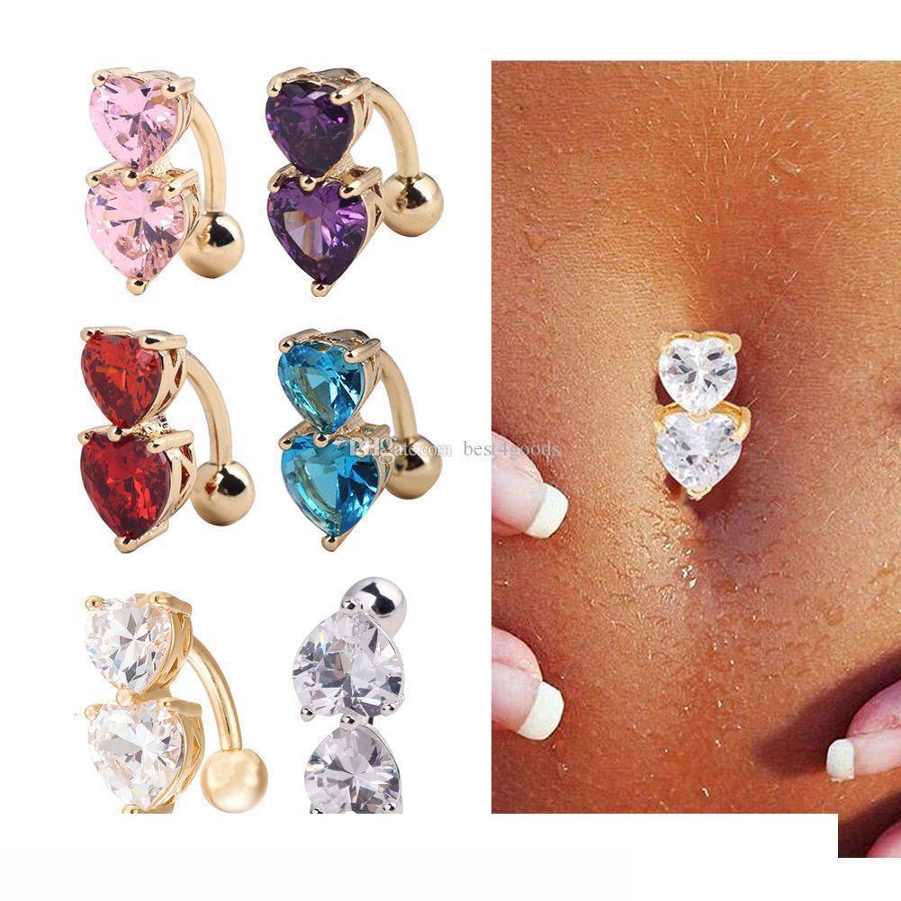 6 colores inversa Crystal Bar vientre Anillo de Oro Piercing cuerpo de botón joyería del cuerpo de perforación del ombligo Corazón dos