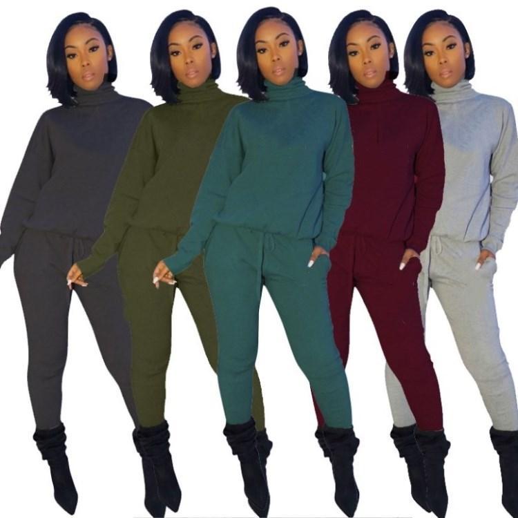 Kleidung der Frauen Langarm-Kapuzen Outfits 2-teiliges Set Trainingsanzug Sportkleidung Jogging Sport Anzug Sweatshirt Strumpfhosen klw3086 Sportanzug