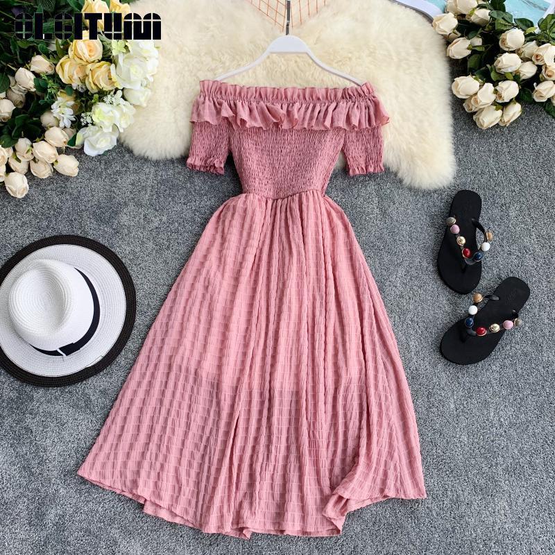 Vintage estate delle donne Abiti 2020 al largo della spalla solido increspature una linea di vita alta abito Vestiti Slash collo Robe Femme