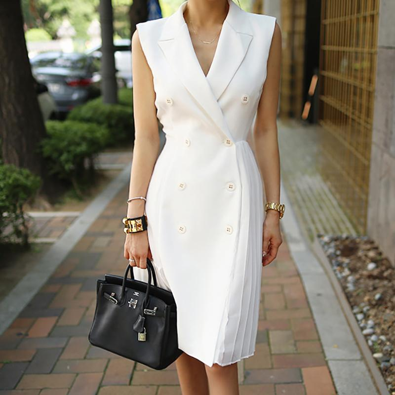 Wear elegante de vestidos partido do negócio Trabalho Bodycon Office Lady Mulheres vestido plissado