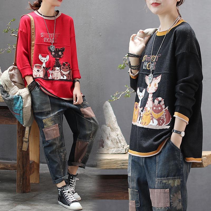 Autumn 2019 New Korean Print Knitting Sweater Fat Mm THIN Comfortable Round Neck Blouse Women Plus Size Sweaters Fashion Women