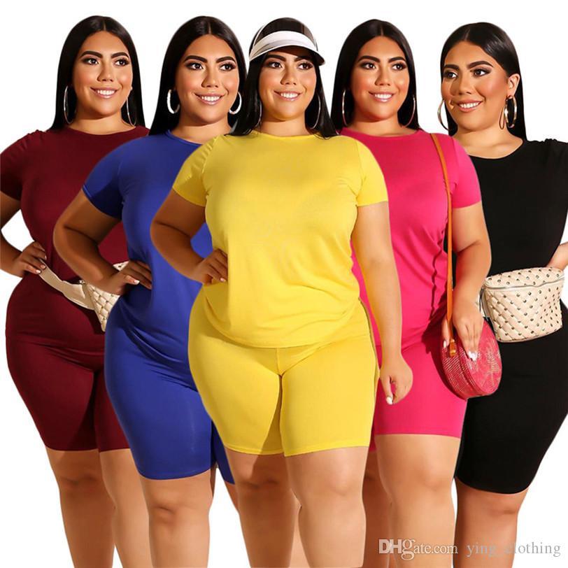 Frauen Plus Größe Trainingsanzug Sommer 2 Stück Set Kurzarm T-Shirt + Shorts L-4XL Sport Anzug Rundhals Outfits Einfarbig Jogging Anzug 2806