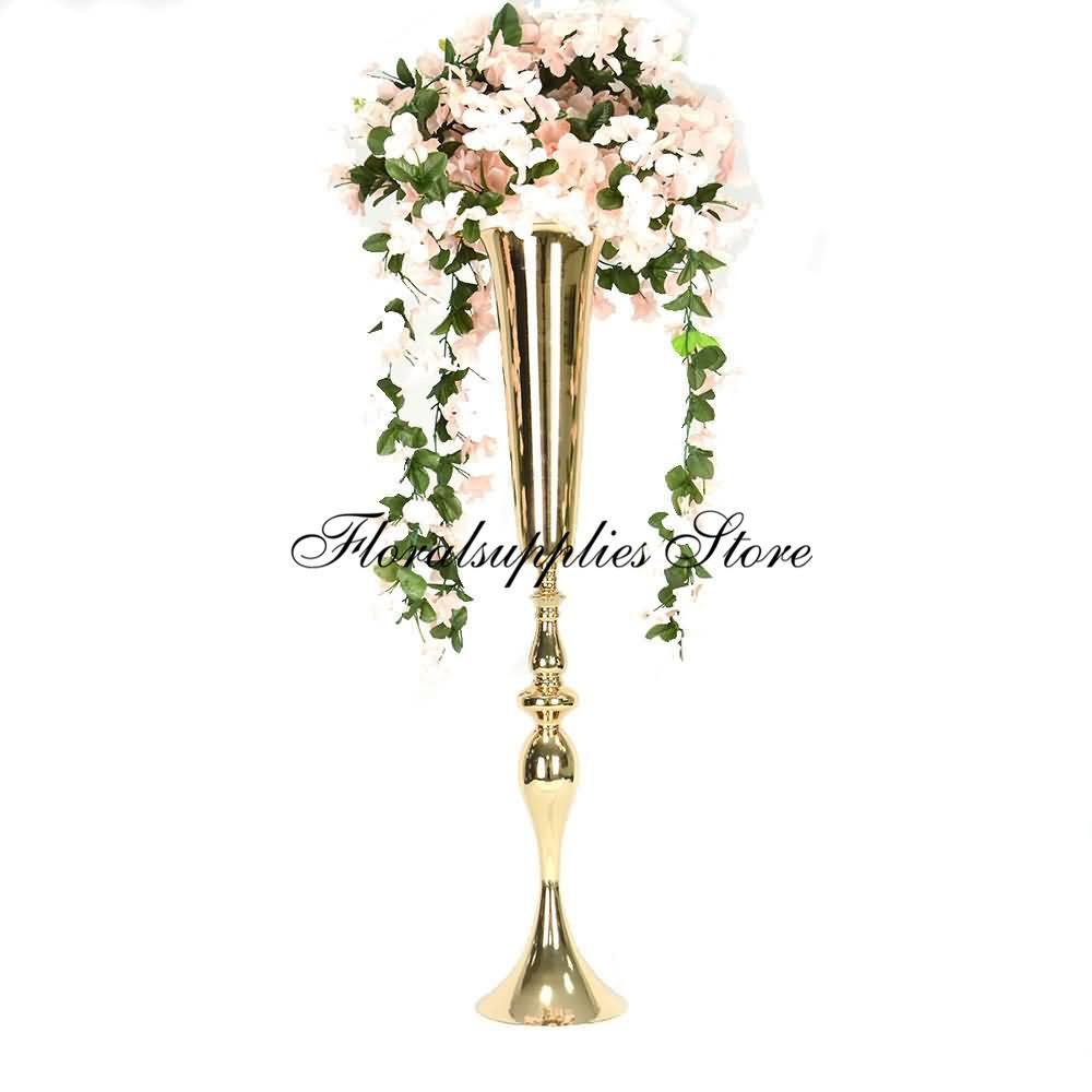 Flor de la boda 10PCS Centro de mesa Centro Vase pedazos del metal trompeta de oro boda de la flor piezas centrales del florero