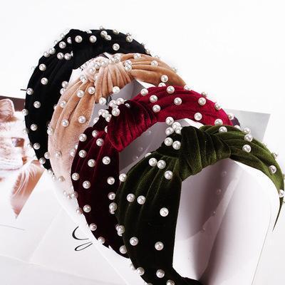 Perla de terciopelo nudo hairband ancho de la Mujer anudado Corea sólido blando diadema hecha a mano del pelo del aro de la venda de las muchachas del cabello joyas accesorios