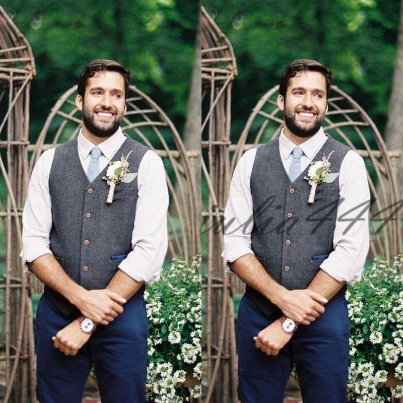 New Wool Groom Vests For Farm Country Wedding Dress Waistcoat Men's Fashion Design Suit Vest Men's Business Casual Groomsmen Attire