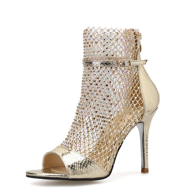 الكعوب أزياء الربيع بريق الذهب حجر الراين شبكة الكاحل الصنادل أحذية عالية مثير الجوارب اللمحة تو مضخات أحذية حزب سيدة
