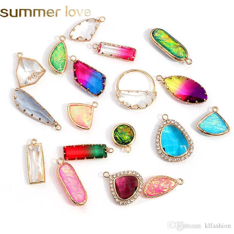 Nueva llegada coloridas DIY de cristal geométrica Dangles para la joyería collar de la pulsera transparente fabricación de vidrio accesorios de los colgantes