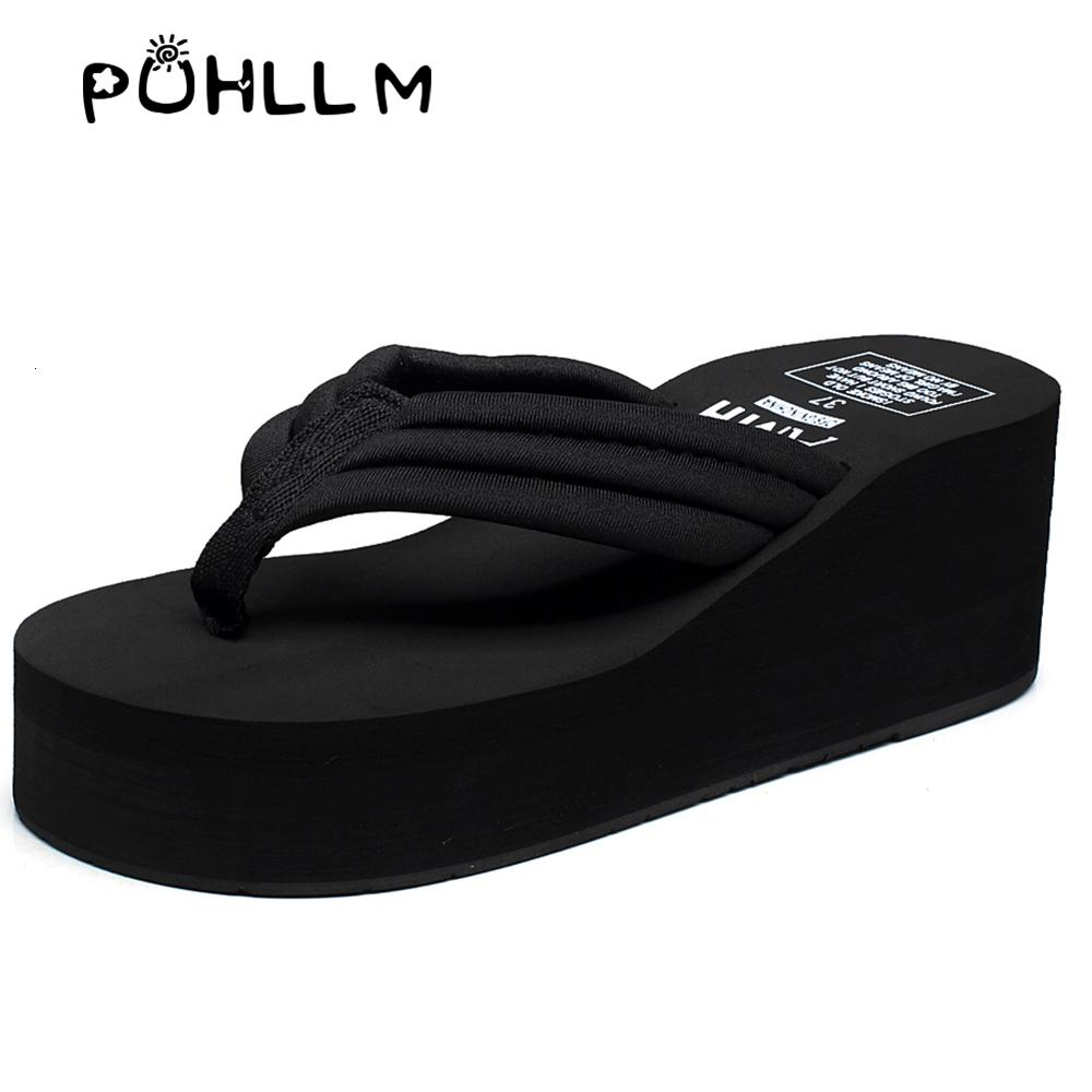 PUHLLM women slipper DIY summer large-sized thick-soled flip-flop beach shoes Korean version fashionable slip-proof cloth straps T191018