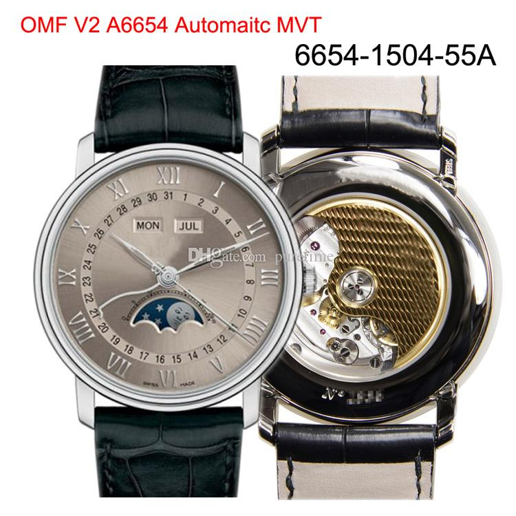 OMF V2 Villeret Moonphase Complete Calendar 6654-1504-55A A6654 Automatic Mens Watch Steel Case Gray Dial Leather Best Edition New Puretime
