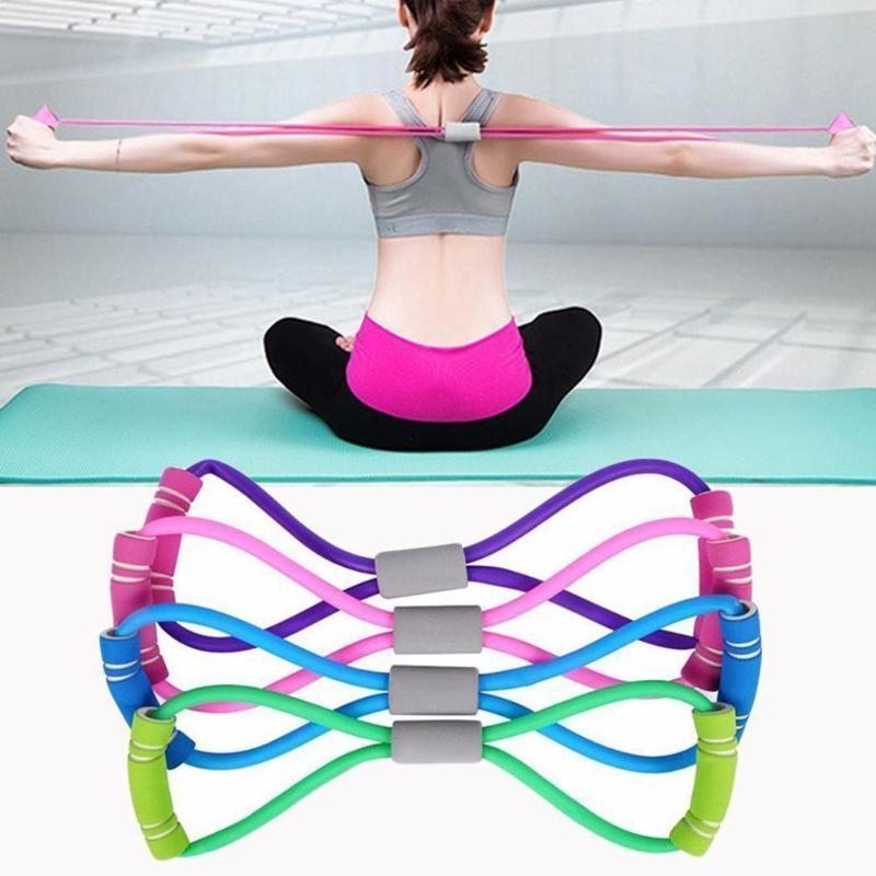 8 en forma de yoga fitness Rally Gel Resistencia 8 Palabra de goma en el pecho aptitud cuerda ejercicio del músculo dilatador elástico venda del ejercicio de FY8006