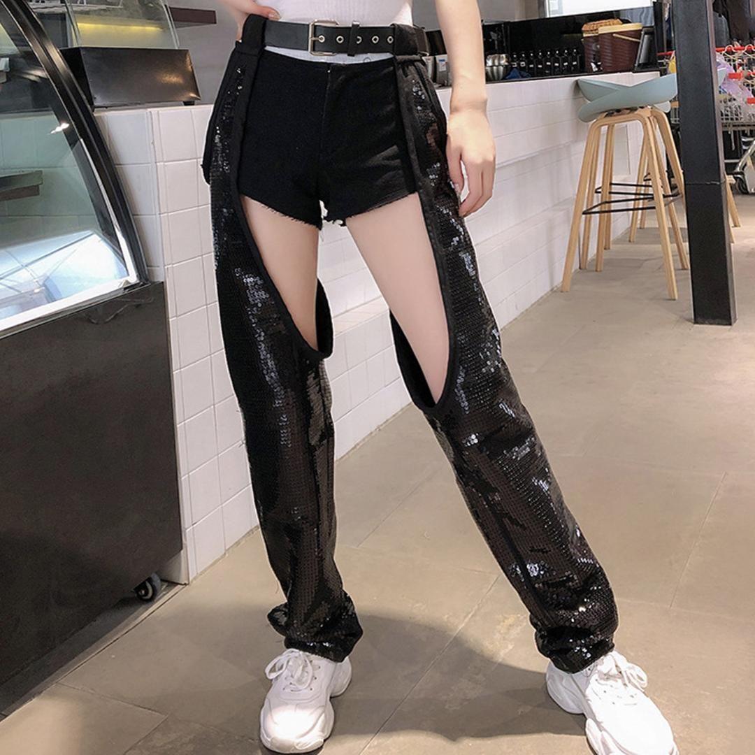 Женщины Streetwear Cargo Jogger Лоскутная Высокая Пояс Denim Short Hollow Sexy пришивания Pant Punk Hip Hop Бальные Black Гарем