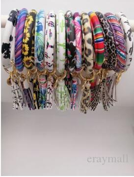 PU Leather O Key Chain Custom Circle Tassel Wristlet Bracelet Keychains Women Girl Key Ring Wrist Strap 516