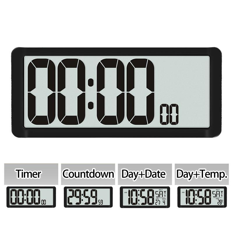 Súper Gran temporizador de cuenta regresiva, el reloj de pared de la cocina, pantalla LCD grande con temperatura, el calendario, pantalla de la hora, despertador, Mesa