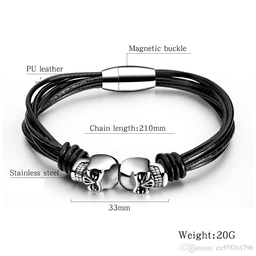 Men Punk Multilayer Leather Braided Bracelet Handmade Wristband Bangle Buckle