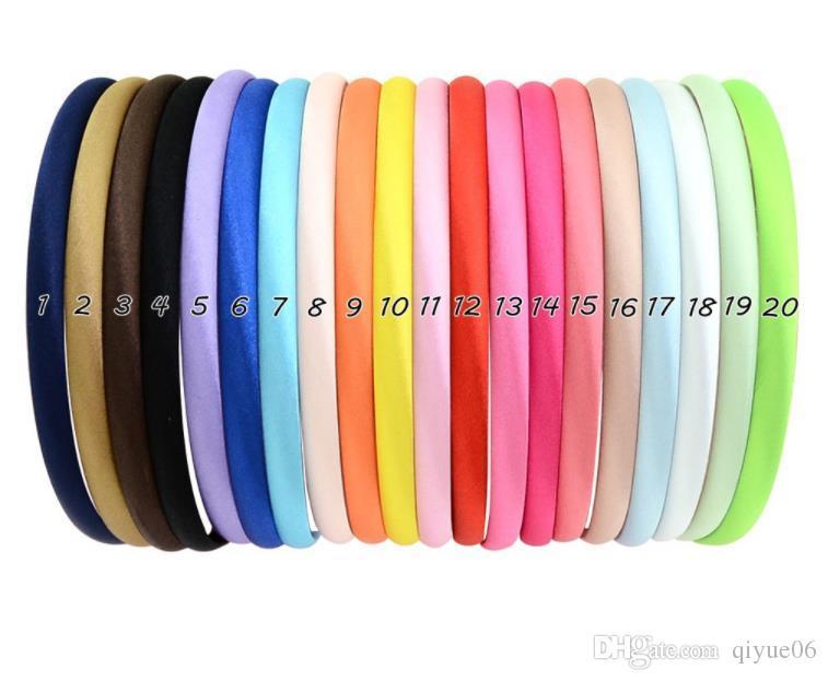 헤어 밴드 액세서리 여러 가지 빛깔의 소녀 모자 Y19052003 대상 20PCS 공단 머리띠 컬러 성인 어린이 리본 헤어 밴드 여성