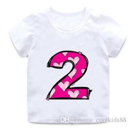 Новые дети с Днем рождения письма любовь милый принт Одежда мальчики и девочки смешные рубашки дети номер 1-9 подарок на День Рождения