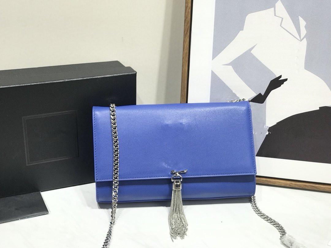 Sexly Blue Design Çok Lüks Gerçek Deri Kadınlar Crossbody Çanta Tasarımcı Zincirler Çanta Bayanlar Üst Sınıf Lüks Omuz Çantaları Messenger Çanta