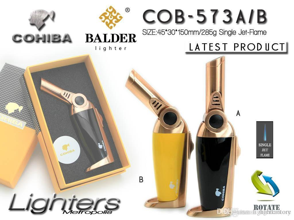 New Arrival COHIBA Multifunctional Flame Lighter Windproof Refillable Butane Gas Cigar jet Lighter Two Colors Torch With Gift Box