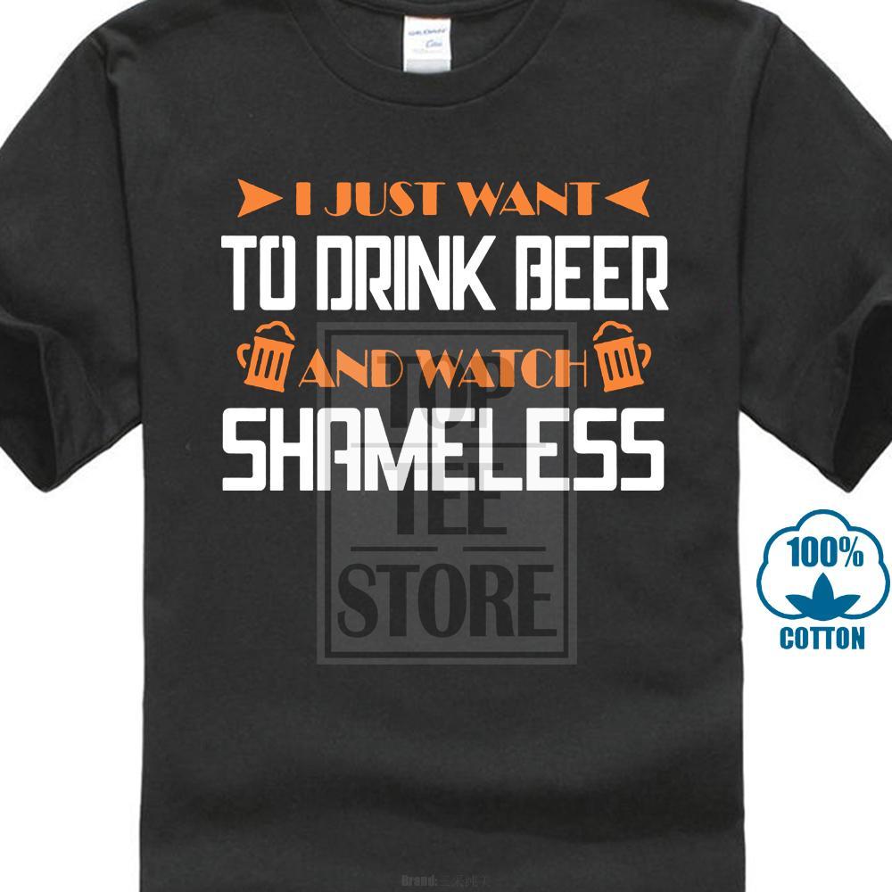 Новинка Cool Tops Мужская футболка с коротким рукавом Я просто хочу пить пиво и смотреть бесстыдные S и толстовки O - шея Sunlight Men T - Shi