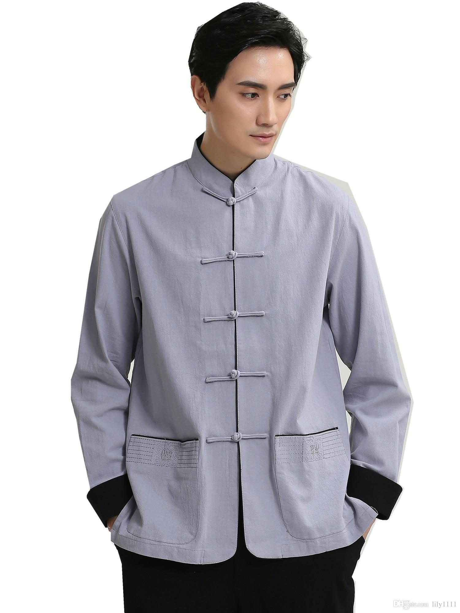 Chinese style men/'s Black Tunic Suit Tang Zhuang free shipping