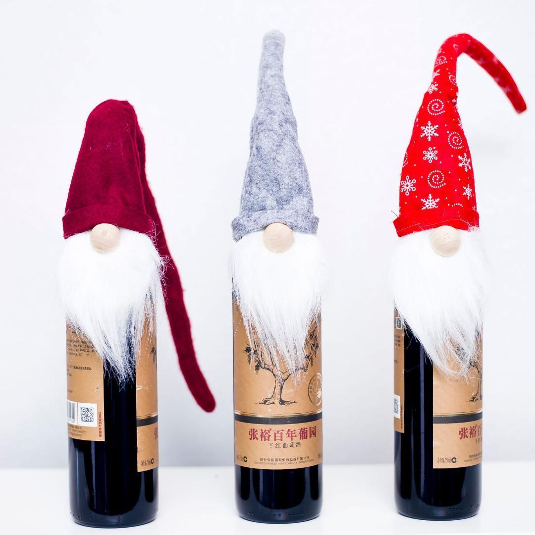 Weihnachten 2019 Weihnachtsmann Weinflasche Abdeckung Weihnachtsdekorationen für Haus Sankt-Hut Topper Partei Abendessen Dekoration