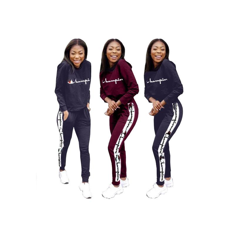 2020 Women Champions Letter Print Tracksuit Long Sleeve T Shirt Top Loose Pants Leggings Set Hoodie Outfits Sportswear Suit Sweatshirt New From Mindai 23 33 Dhgate Com