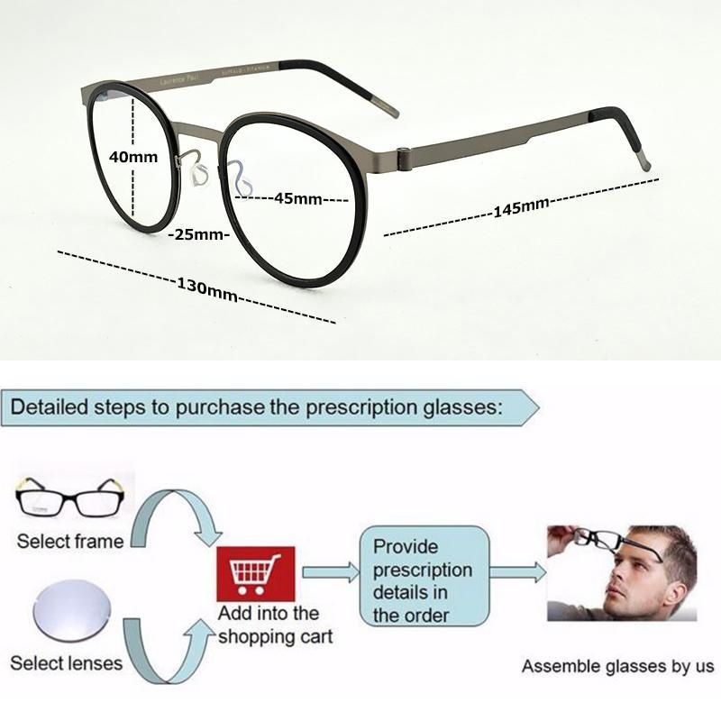 الجملة 2019 أزياء النظارات العلامة التجارية مستديرة إطار نظارات من التيتانيوم الرجال البصري إطار النساء مشهد المرأة إطارات للرجال 9704