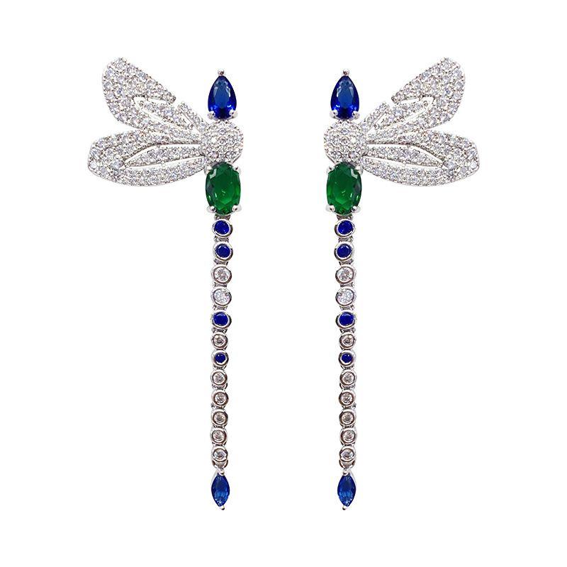 Micro Zircon Dragonfly Brincos Mulher colorida de cristal longo Dangle Marca Designer 925 Jóias de Prata Mulheres Moda Brinco