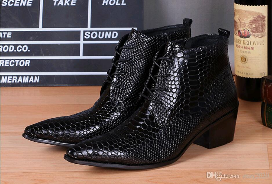 Genuine leather pointed toe Men's dress shoes High-top Men's oxfords crocodile skin Ankle boots catwalks fashion show Nightclub party shoes
