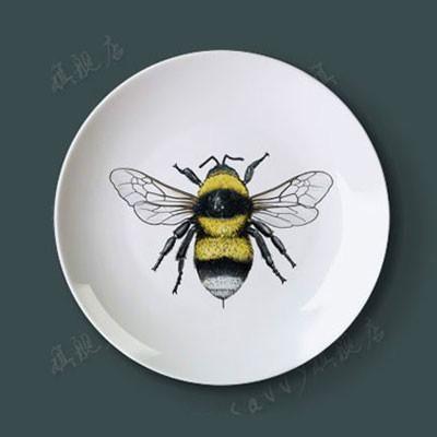 8 pouces New Creative plaque en céramique Hanging décoratif Insect Art Plateau Porcelaine Planche 8 pouces Accueil, Hôtel, Bar éponte
