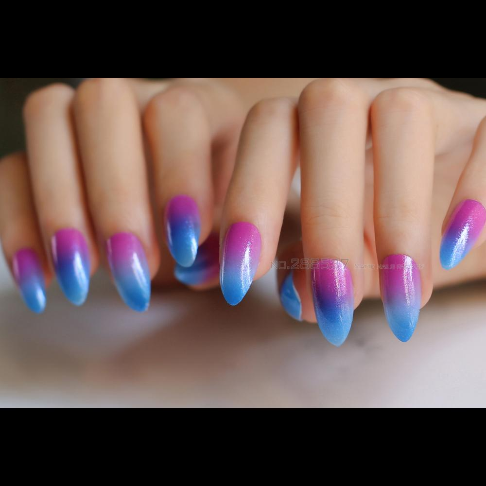 Blue, Red Gradient Glitter False Pointed Fake Nails Stiletto Full Set Shiny  Change Pointed Active With Sticker Acrylic Nails Nails From Jerry02,