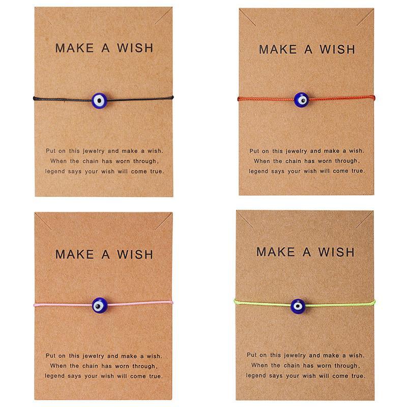Wish Card 5 colori turchi Lucky Blue Evil Eye Bracciali per donna fatti a mano in corda intrecciata braccialetto braccialetto femminile gioielli maschile