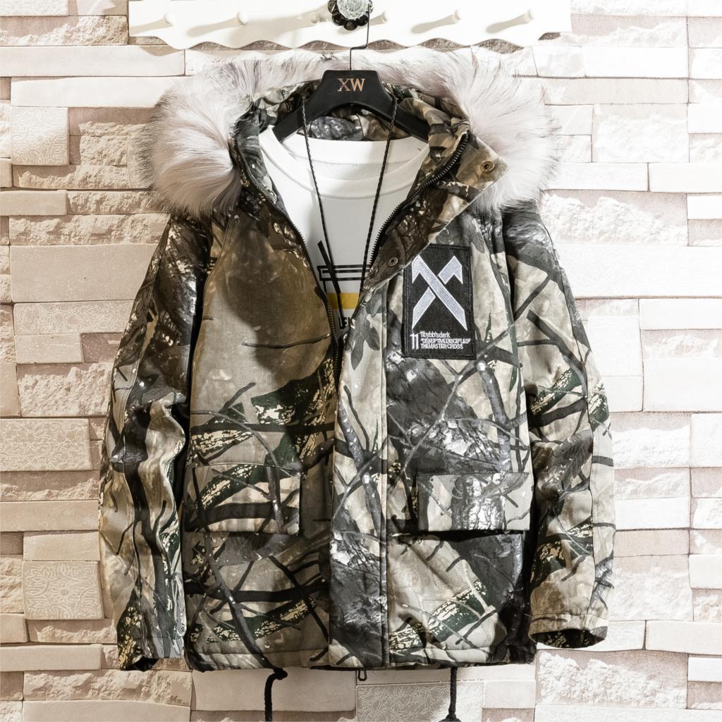 Invierno Parkas Hombres Camo con capucha grande cuello de la piel Casual chaqueta de los hombres Espesar caliente Tamaño Calidad Parkas Asian Coats S-3XL
