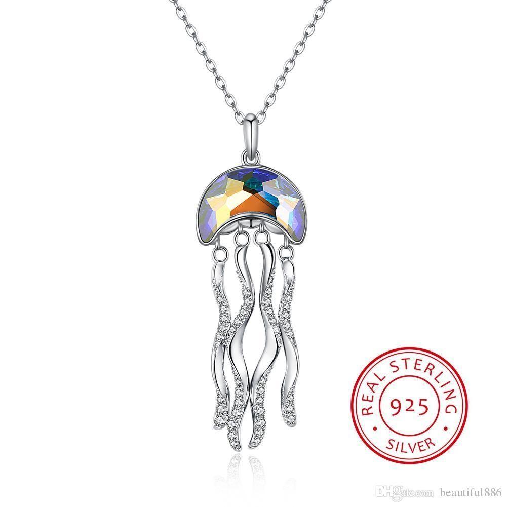 Hot 925 Sterling Silber Kristalle von Swarovski Element Schmuck Quallen Mond Kristall Anhänger Halsketten Vintage Schmuck Zubehör