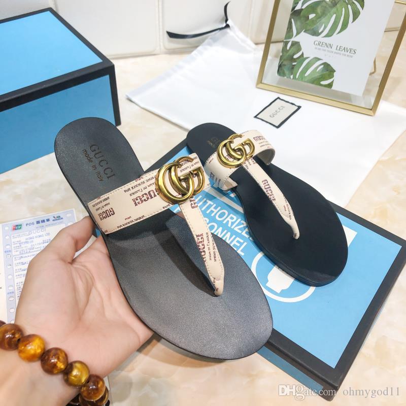 2020 populares Designer verão casuais sapatos de couro sapatos aleta das mulheres marca Sandals moda C das mulheres fracassos 35-40