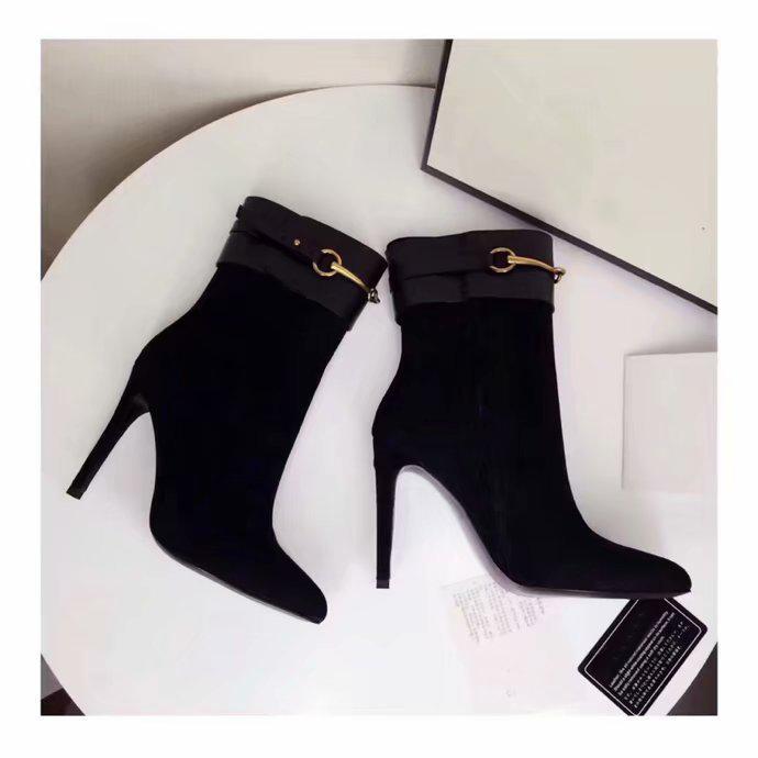 Hot Sale-Womens Metade Heel alta 10CM dedos apontados botas de couro Mid-bezerro Sapatinho Ladies Cavaleiro Suede