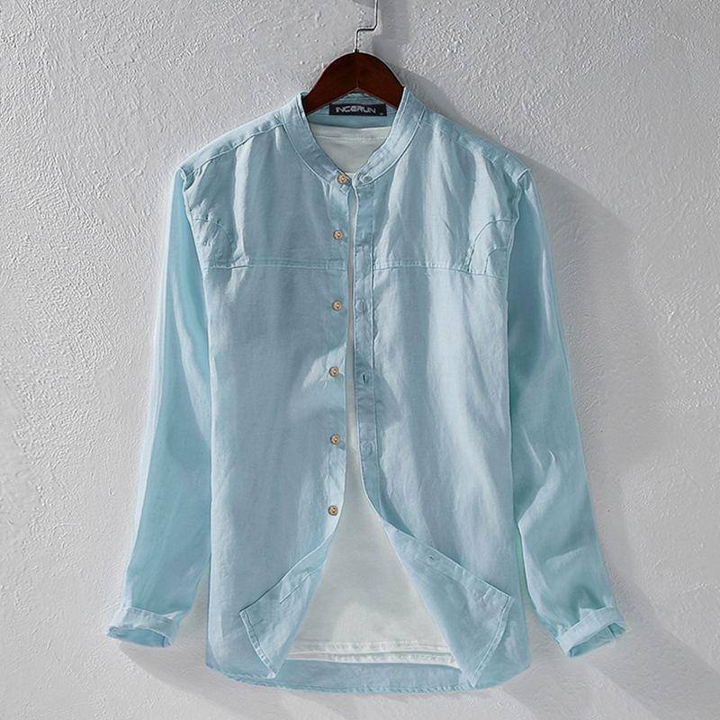 INCERUN uomini camicia casual cotone solido Harajuku colore a maniche lunghe camicetta stand Collar Camicie traspirante Streetwear giapponesi 2020