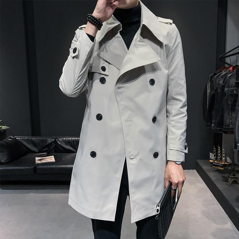 2020 Primavera Hombre Streetwear Moda rompevientos Chaqueta larga de los hombres blancos Trench rompevientos chaqueta masculina floja Escudo Mabrigo Hombre
