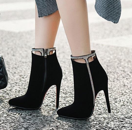 Hot Sale taille 33 à 42 43 avec la boîte sexy talons cheville strass sur creuse bottillons design haut rouge bottes bas femmes concepteur de luxe bottes