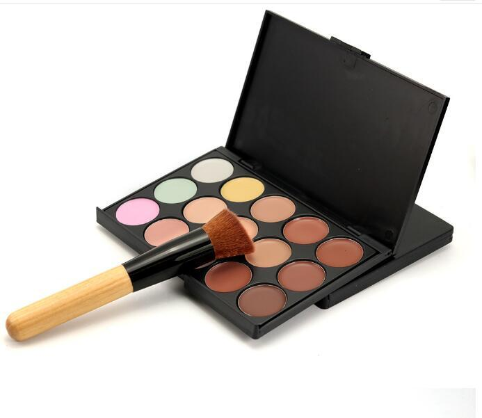 Profesyonel 15 Renk Kapatıcı Paleti ile 1 adet Makyaj Fırça Teneke Kağıt Paketi ile 3 Stil Yüz Makyaj Ürünleri