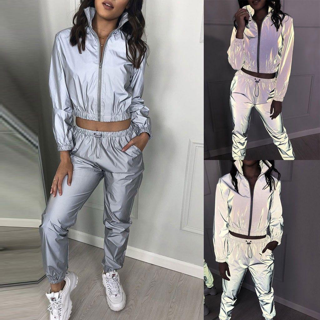 Autumn Winter Women Casual Reflective Two Piece Set Fashion Long Sleeve Crop Tops + Pants Lady Sports Pants Set 2020
