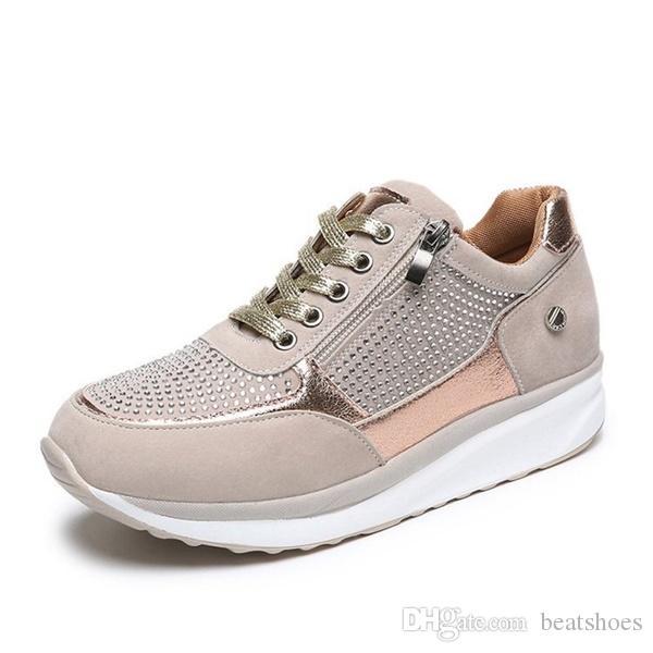 Designer Femme Plate-forme Formateurs Glitter à lacets Sneakers Fermeture à glissière talon compensé Chaussures Casual New Spring Chaussures respirant de haute qualité pour homme