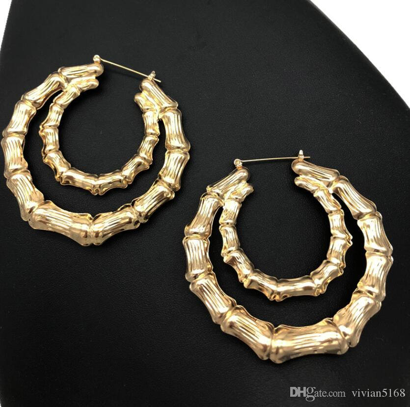 2019 New Ethnic Style Geometric Hoop Earrings Gold Silver Color