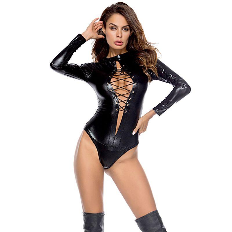 Women Long Sleeve Bandage Open Chest Leather Skinny Romper Lady's Nightclub Pole Dance Costumes Sexy Black Gothic PVC Bodysuit