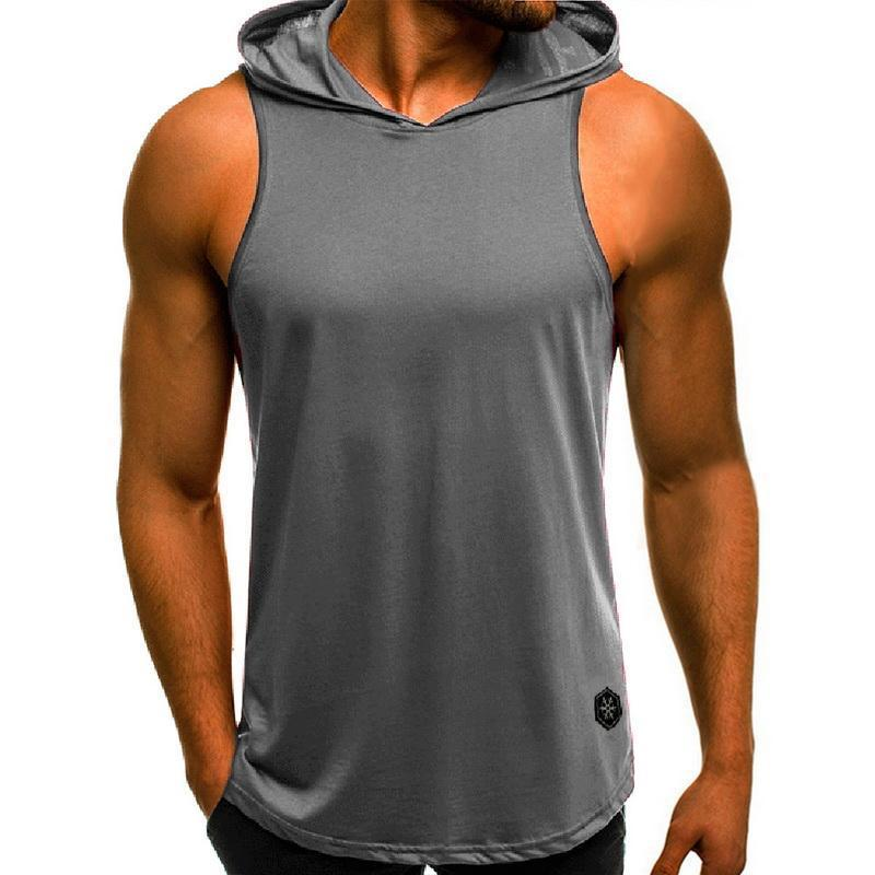 Мужская мода капюшоном Топы толстовка без рукавов Топы Мужской Бодибилдинг тренировки мышц верхней части бака тренажерный зал Одежда летом