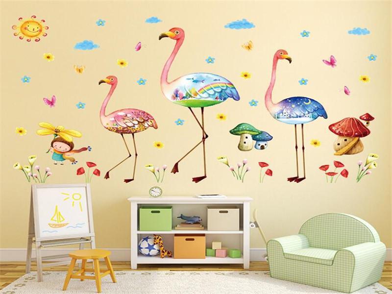 Explosion bande dessinée flamants roses animaux sticker mural PVC vivant chambre chambre fond peinture décoration